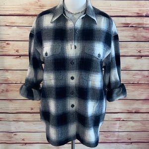 LizWear Blk/Ivory Buffalo Plaid Wool Blend Flannel